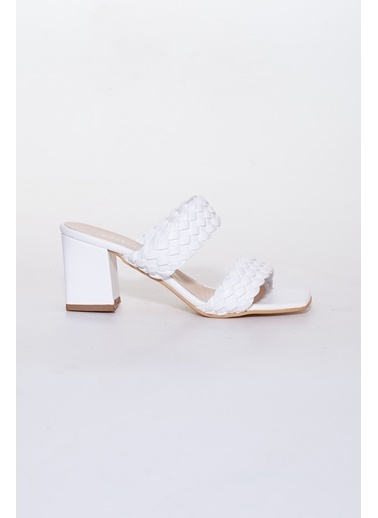 Dilimler Ayakkabı Terlik Beyaz